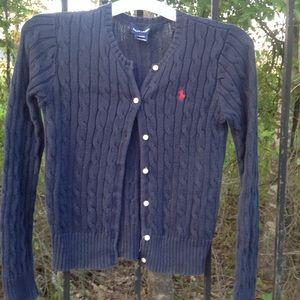 Ralph Lauren navy cable sweater